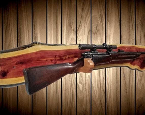 Live Edge Knotty Cedar, Gun Rack, Wall Mount, Shotgun Rifle, Cabin, Rustic Hunting Decor, Fathers Day Gift