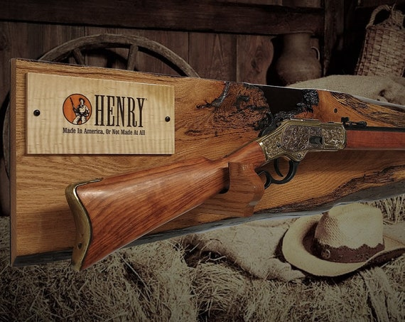 Henry Lever Action Rifle Display Rustic Live Edge Oak Gun Rack  Cabin Décor Gift. Free Shipping