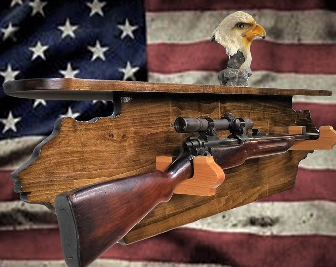 The Bear Necessity Gun Rack With Shelf Rifle Shotgun Cabin, Hunting Decor, Gift, FREE SHIPPING