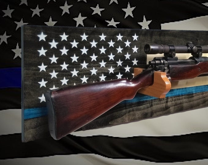 Rustic Thin Blue Line Gun Rack Rifle Shotgun Display Patriotic Decor Police Officer Gift, FREE SHIPPING