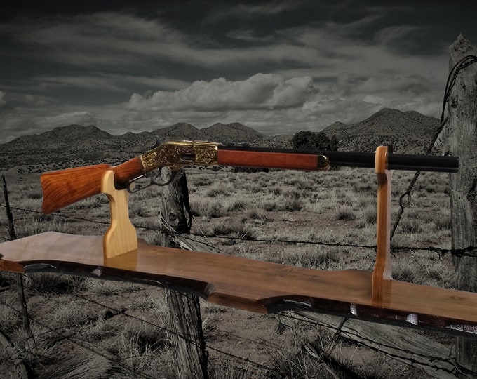 Rustic Gun Rack Stand Western Rifle Display Mantel Table Top Hunting Décor, Handcrafted Gift, FREE SHIPPING