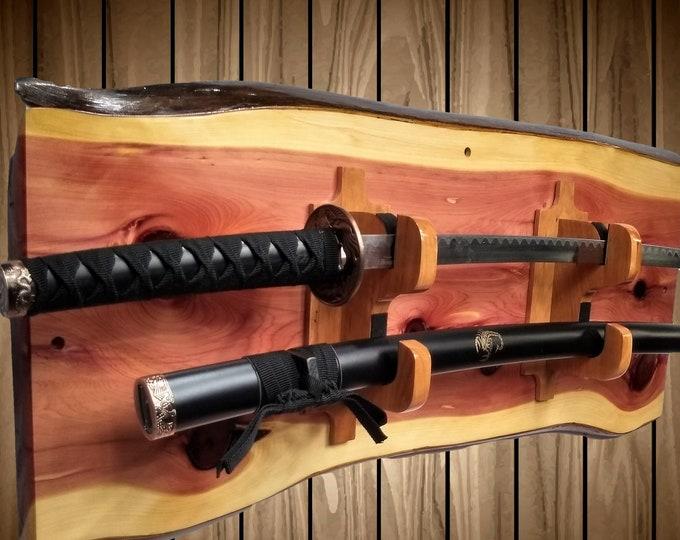 Rustic Cedar Sword Display Rack, Military Saber, Katana, Wakizashi, Blade and Sheath Hangers, Sword Decor, Handcrafted Gift, FREE SHIPPING