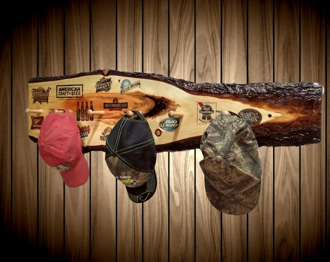 """Man Cave Hat Coat Rack 6 Wood Pegs 42"""" Rustic Knotty Pine Bar Cabin Lodge Home Decor Gift"""