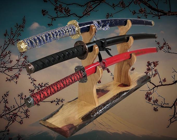 Rustic 3 Tier Sword Stand Live Edge Knotty Cedar Katana Samurai Display Vintage Japanese Décor, Gift, FREE SHIPPING