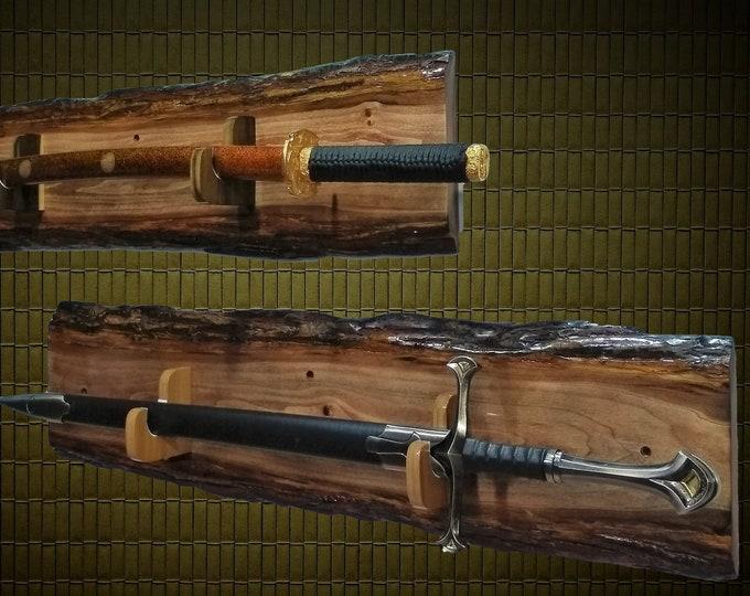 Set Rustic Wood Sword Display Racks Military Saber Samurai Katana Collectors Gift, Free Shipping