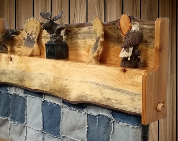 Rustic Hanging Wood Quilt Rack with Shelf, Wall Mount Live Edge Knotty Pine, Home, Cabin, Decor Gift, FREE SHIPPING