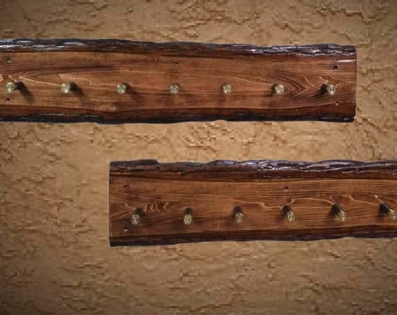 Rustic Wall Mounted Coat Rack Set, Live Edge, 7 Shotgun Shell Pegs, Home Cabin Decor, Handcrafted Gift, FREE SHIPPING
