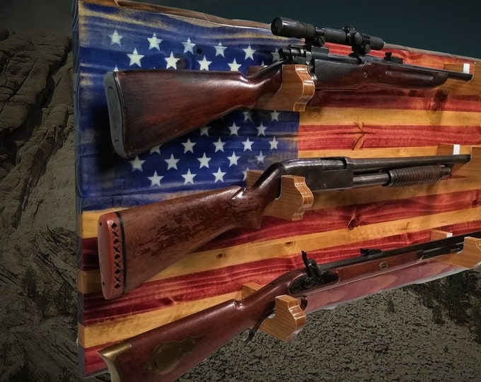 Rustic American Flag Gun Rack Old Glory 3 Place Knotty Pine Rifle Shotgun Patriotic Décor Christmas Gift, FREE SHIPPING