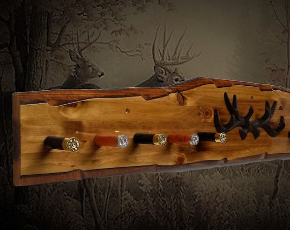 Rustic Hat Coat Key Rack Knotty Pine Wood Wall Mount Iron Antlers Shotgun Shell Pegs Faux Live Edge Hunting Gift, FREE SHIPPING
