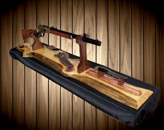 Rustic Gun Rack and Knife Stand, Live Edge Cedar, Lever Action Rifle, Mantel Table Top, Cabin Home Decor, Gift, FREE SHIPPING