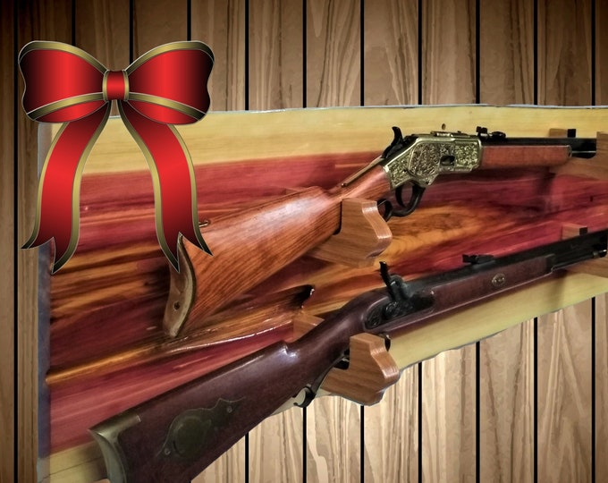 Rustic Nature Gun Rack, Wall Mount, Live Edge Red Cedar, 2 Place Rifle, Shotgun, Home Cabin Decor, Gift, FREE SHIPPING