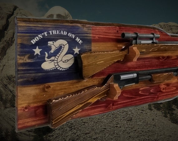 "Rustic  ""Don't Tread On Me""  2 Place Gun Rack Wall Mount Rifle Shotgun Americana Décor, 2nd Amendment Gift, FREE SHIPPING"