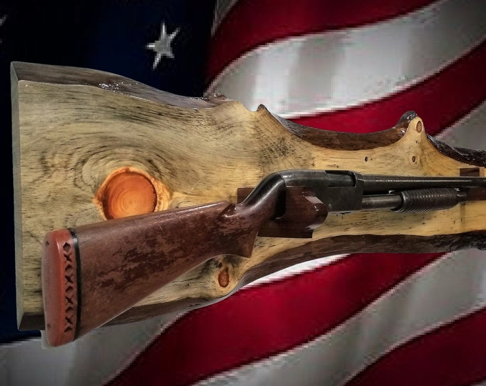 Knotty Pine Gun Rack Live Edge Wall Display Rifle Shotgun Home Cabin Decor Gift, FREE SHIPPING