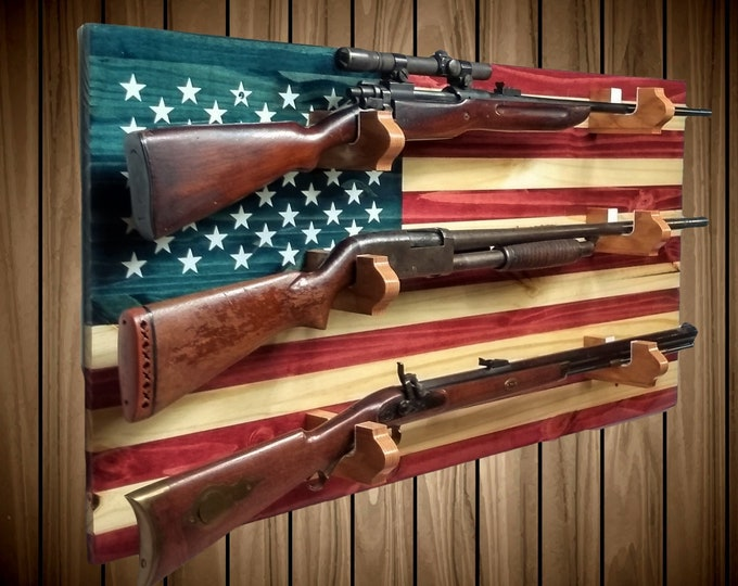 American Flag Gun Rack, 3 Place Rustic Pine, Rifle Shotgun Muzzle Loader, Handcrafted Man Cave Americana Decor, FREE SHIPPING