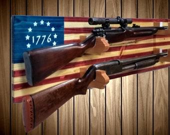 Rustic 1776 American Flag Gun Rack, Wall  Mount, Knotty Pine, Rifle Shotgun, 2 Guns, Americana Cabin Man Cave Decor, Gift, FREE SHIPPING