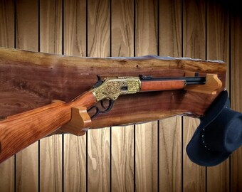 Wild Walnut Gun Rack, Oak Hangers, Lever Action Rifle, Western Cabin Hunting Decor, Vintage Gun Display Gift, FREE SHIPPING