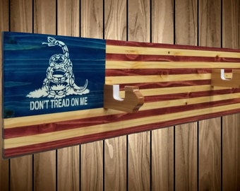"Knotty Pine ""Don't Tread On Me""  Flag Gun Rack, Wall Mount, Rifle Shotgun, Handmade Americana, Cabin, Hunting Decor, Gift, FREE SHIPPING"