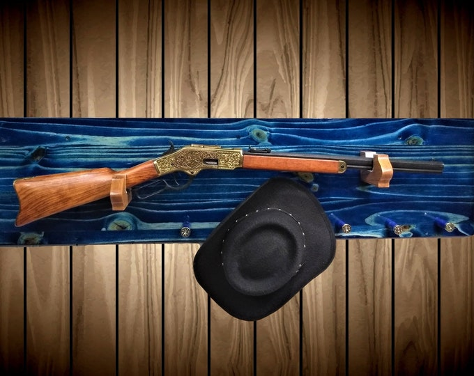 True Blue Gun Rack Knotty Pine Wood Wall Mount Rifle Shotgun Shell Pegs Handmade Cabin Man Cave Hunting Decor Gift