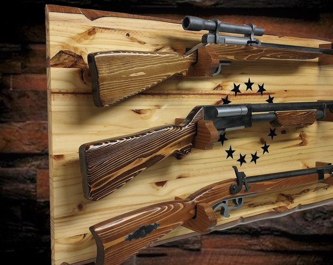 Natural Knotty Pine Rustic 13 Star Gun Rack 3 Place Rifle Shotgun Patriotic Americana Décor Great Gift, FREE SHIPPING