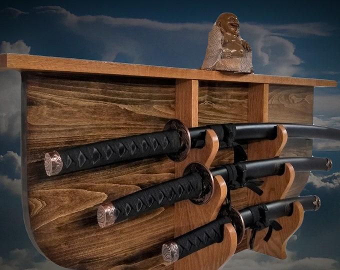 Sword Display Rack and Shelf Rustic 3 Tier Katana Wakizashi Tanto Samurai Vintage Bushido Décor, FREE SHIPPING