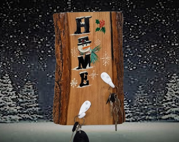 Hand Painted  Snowman Wall Plaque Key Holder Live Edge Wood Home Country Christmas Farmhouse Cabin Décor