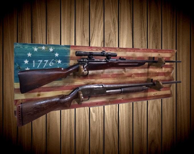 Rustic Flag Gun Rack 1776 Americana 2 Place Knotty Pine Rifle Shotgun Handmade Cabin Man Cave Decor Gift