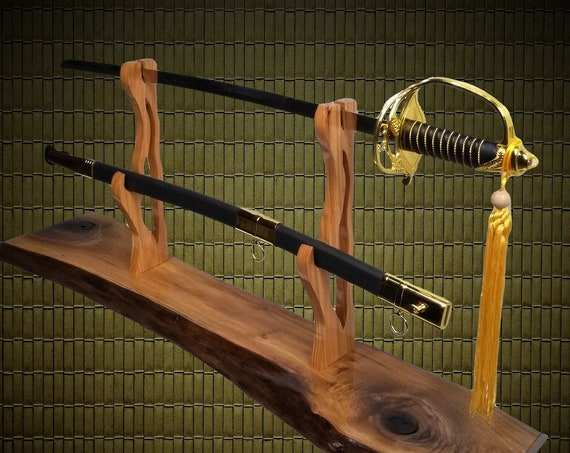 Rustic Live Edge Walnut Sword Display Stand, Military Saber, Katana, Blade and Sheath Display, Sword Rack,  Handcrafted Gift, FREE SHIPPING