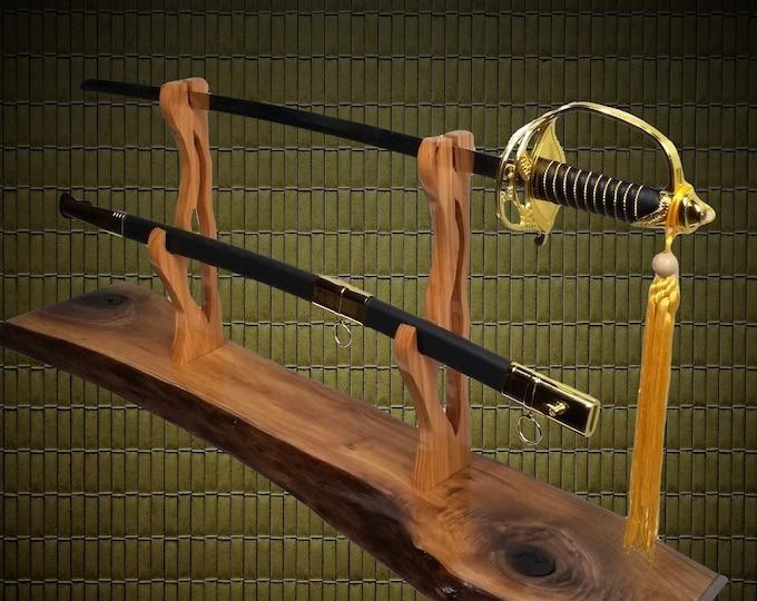 Rustic Live Edge Walnut Sword Display Stand, Military Saber, Katana, Blade and Sheath Display, Sword Rack,  Handcrafted Gift, FREE SHIPPING