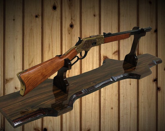Rustic Gun Rack Stand Western Rifle Winchester Henry Display Mantel Table Top Walnut Finish Handcrafted Gift, FREE SHIPPING