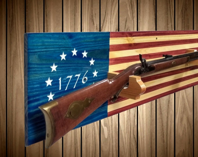 1776 American Betsy Ross Flag Gun Rack, Knotty Pine Wall Mount, Rifle Shotgun, Handmade Americana, Cabin, Hunting Decor, Gift, FREE SHIPPING