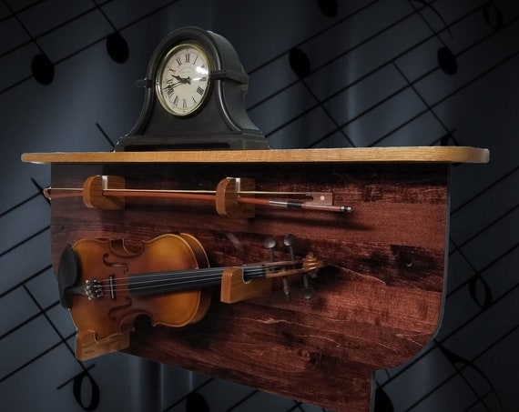 Mahogany Violin Display Rack with Oak Shelf Unique Rustic Musical Wall Mount Décor, FREE SHIPPING