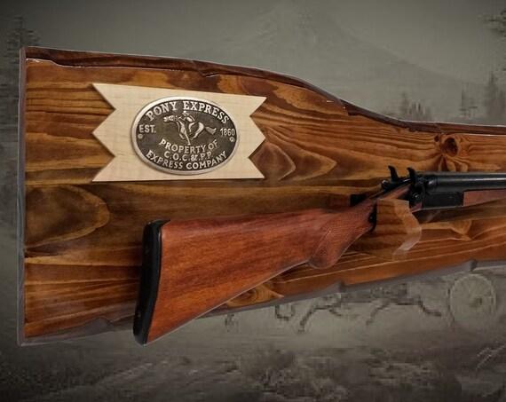 Rustic Pony Express Gun Rack Short Shotgun Rifle Display Western Display Cabin Gift