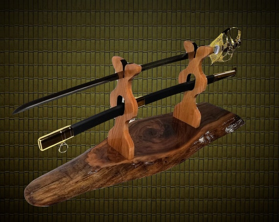 Sword Display Stand, Military Saber, Katana, Blade and Sheath Display, Rustic Live Edge Walnut Base Oak Uprights, Gift, FREE SHIPPING