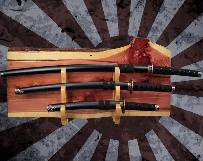 Rustic Cedar 3 Tier Sword Display Rack, Katana Wakizashi Tanto, Samurai Japanese Decor,Handcrafted Gift, FREE SHIPPING