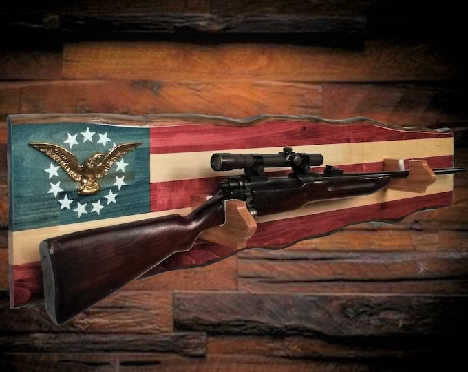 Golden Eagle American Gun Rack Rustic Wall Display Rifle Shotgun Cabin Patriotic Flag Decor, Fathers Day Gift FREE SHIPPING