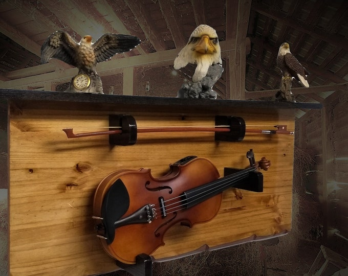 Rustic Fiddle Display Rack with Black Oak Shelf Unique Rustic Violin Wall Mount Décor, FREE SHIPPING