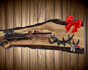 Rustic Wild Walnut Gun Rack, Wall Mount, Rifle Shotgun, Home Cabin Hunting Decor, Vintage Gun Display Gift, FREE SHIPPING