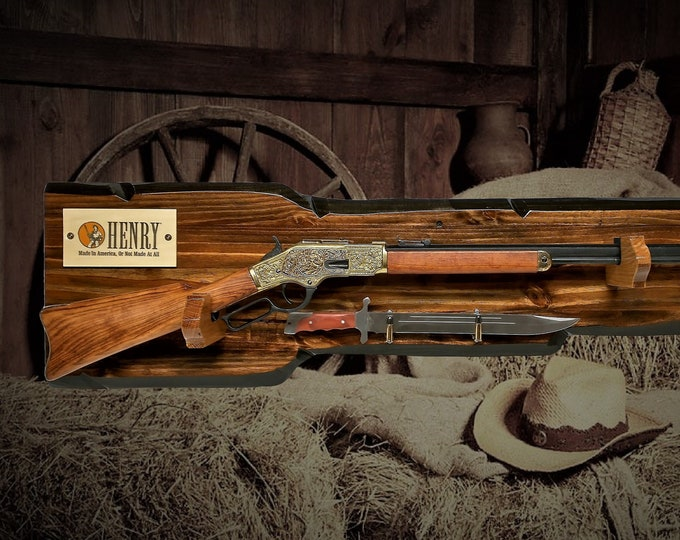 Rustic Gun Rack Display For Henry Lever Action Rifle Imitation Live Edge Bullet Hangers Cabin Décor Christmas Gift. Free Shipping