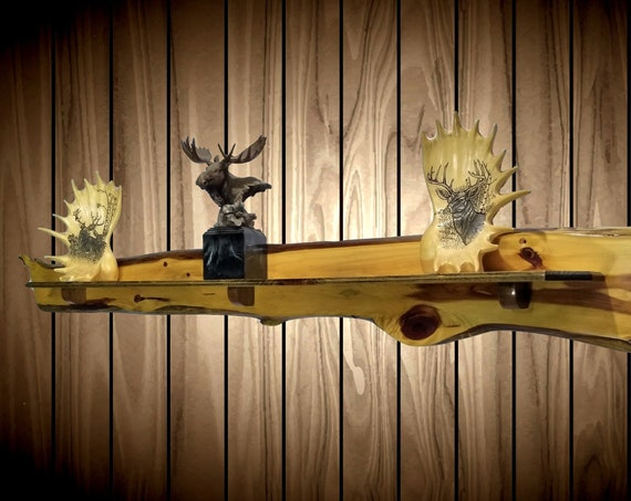 """Live Edge Novelty Shelf,  Knotty Red Cedar 54"""", Natural Weathering, Worming, Handcrafted Home Cabin Rustic Wall Decor"""