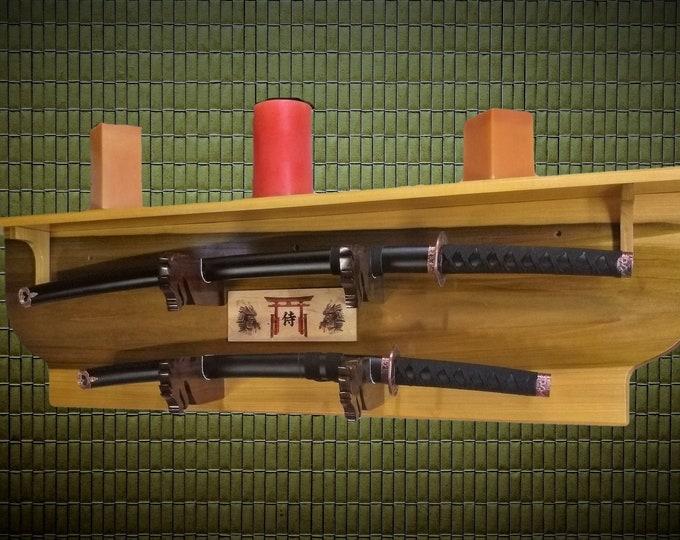 Sword Display Rack 2 Tier with Shelf, Dragon Hangers, Samurai Katana, Bushido Shinto Plaque, Beautiful Natural Wood, Gift, FREE SHIPPING