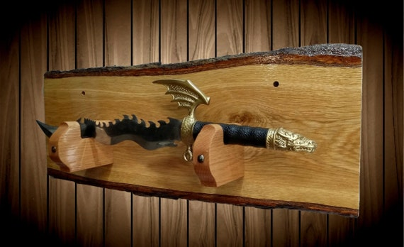 Rustic Small Sword Display Rack, Live Edge Oak, Dagger Wakizashi Tanto Handcrafted Gift, FREE SHIPPING