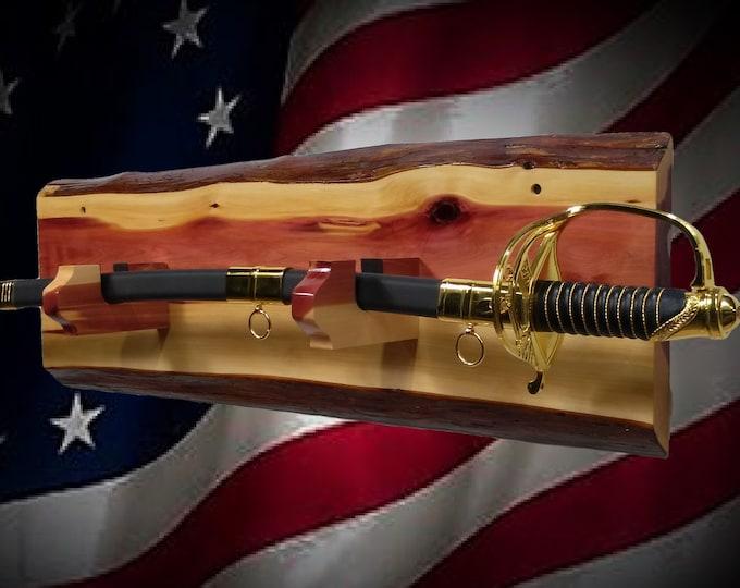 Rustic Sword Display Live Edge Cedar, Military Saber Katana Dagger Handcrafted Gift, FREE SHIPPING