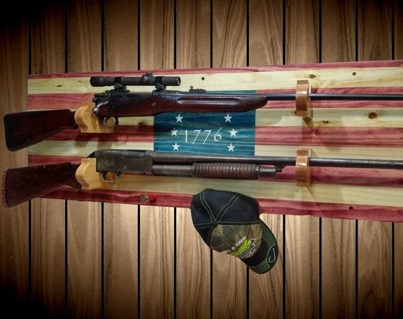 1776 American Flag 2 Guns, Gun Rack, Rustic Knotty Pine, Rifle Shotgun Shell Pegs, Americana Cabin Man Cave Decor Gift