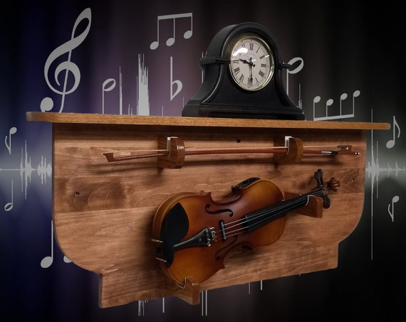 Violin Display Rack and Shelf Cherry Finish Unique Wall Mount Rustic Musical Décor, FREE SHIPPING