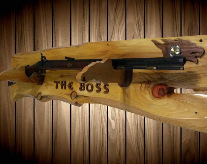 The Boss Rustic Gun Rack Eagle Hangers Clock Rifle Shotgun Handcrafted Gift