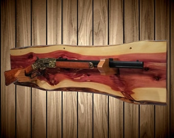 Rustic Gun Rack, Live Edge Knotty Cedar, Cowboy Western Lever Action Rifle Display, Handmade Unique Gift, FREE SHIPPING