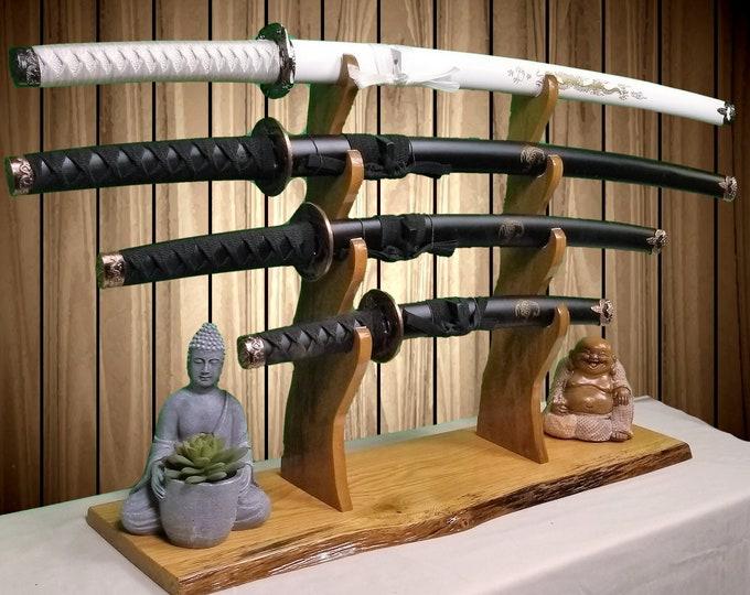 Rustic Sword Stand 4 Tier Display Oak Base Katana Wakizashi Tanto Samurai Mantel Desk Top Japanese Decor Gift Free Shipping