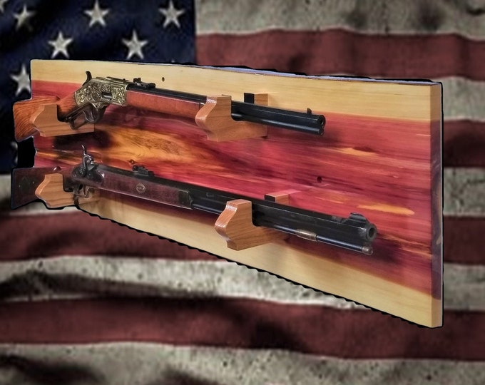 Rustic Nature Gun Rack, Wall Mount, Live Edge Red Cedar, 2 Place Rifle, Shotgun, Home Cabin Decor, Gift, FREE SHIPPING