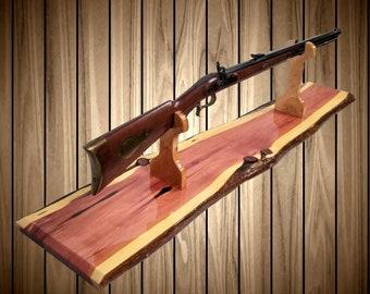 Knotty Cedar Rustic Gun Rack Stand Rifle Shotgun Mantel Table Top Cabin Home Lodge Decor, Gift, FREE SHIPPING