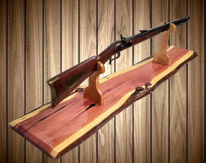 Knotty Cedar Rustic Gun Rack Stand Rifle Shotgun Mantel Table Top Cabin Home Lodge Decor, Gift, FREE SHIPPING